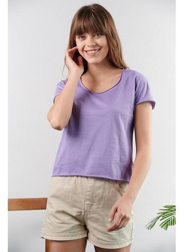 Levure Pamuklu T-Shirt  Lila